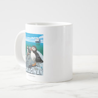 Puffins & Cruise Ship - Skagway, Alaska Large Coffee Mug