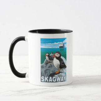 Puffins & Cruise Ship - Skagway, Alaska Mug