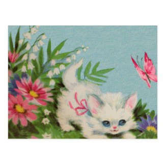 Puffy White Kitten Postcard