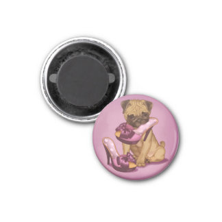 Pug and bow shoes 3 cm round magnet
