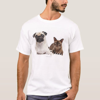 Pug and Burmese cat T-Shirt