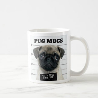 pug bad basic white mug