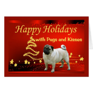 Pug Christmas Card Stars