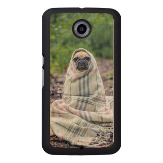 Pug in a Blanket Wood Phone Case