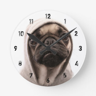 Pug In A Hoodie Round Clock