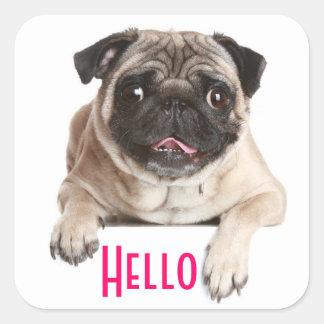 Pug Puppy Dog Hello Greeting Stickers