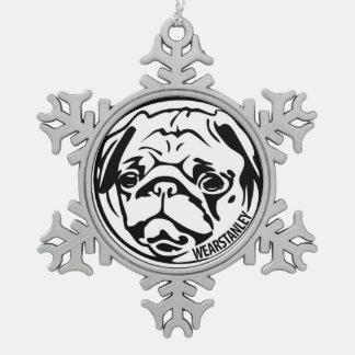 pug snowflake ornament