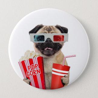 Pug watching a movie 10 cm round badge
