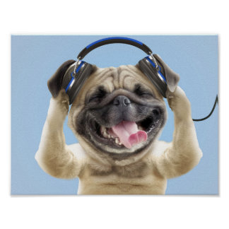 Pug with headphones,pug ,pet poster