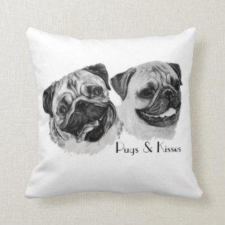 """""""Pugs & Kisses"""" Throw pillow. Cushion"""