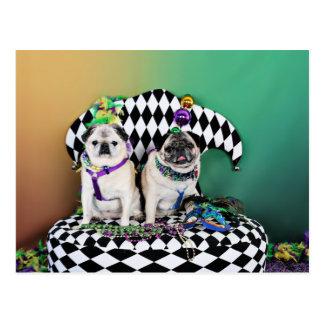 Pugsgiving Mardi Gras 2015 - Pippin Fugoh - Pugs Postcard