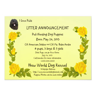 Puli and Yellow Roses New Puppies Announcement