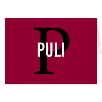 Puli Breed Monogram Design Card