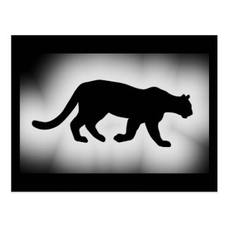 Puma Cougar Mountain Lion Silhouette Postcard