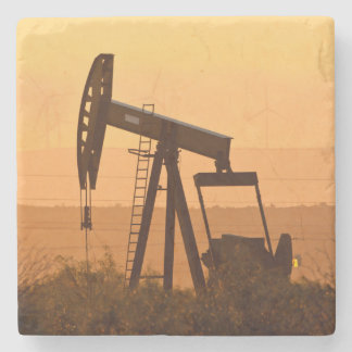 Pump Jack Pumping Oil In West Texas, USA Stone Coaster
