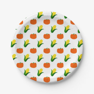 Pumpkin and Corn Pattern Paper Plate