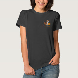 Pumpkin Border Collie Embroidered Shirt (T-Shirt)