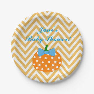 Pumpkin Boy Baby Shower Paper Plates
