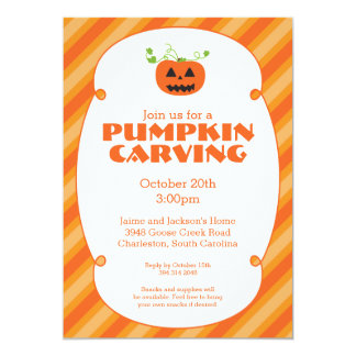 "Pumpkin Carving Halloween Party Invitation 5"" X 7"" Invitation Card"