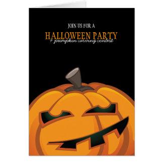Pumpkin Carving Halloween Party Invitation Card