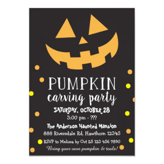 Pumpkin Carving Invitation, Halloween Party Invite