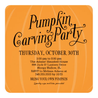Pumpkin Carving Party   Halloween 5.25x5.25 Square Paper Invitation Card