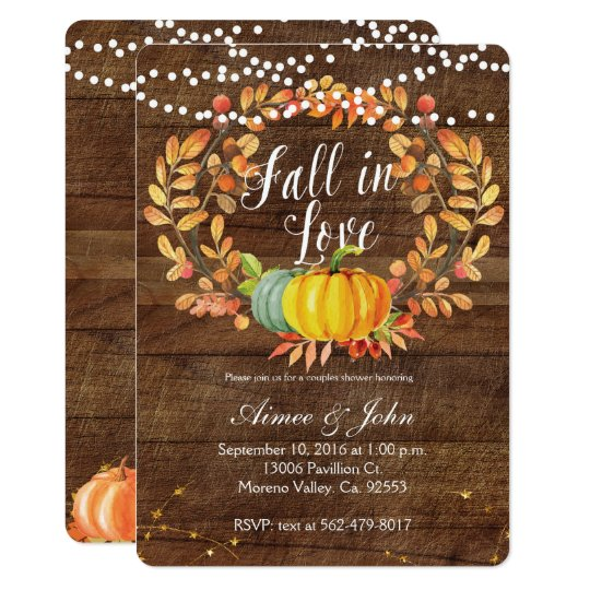 Pumpkin Couples shower invitations card