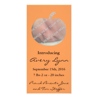 Pumpkin Cut Out Birth Announcement Personalised Photo Card