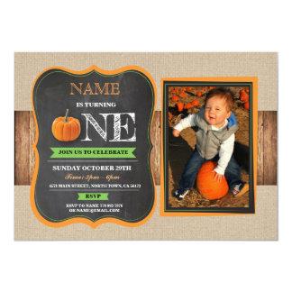Pumpkin First Birthday Invite 1st Party Photo ONE