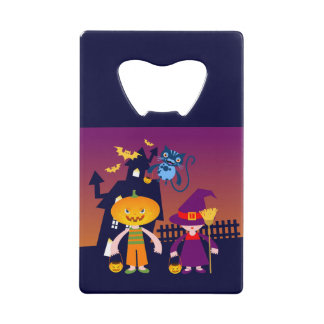 Pumpkin Head and witch go trick or treat Wallet Bottle Opener