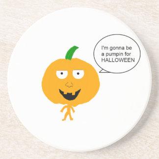 Pumpkin head coaster