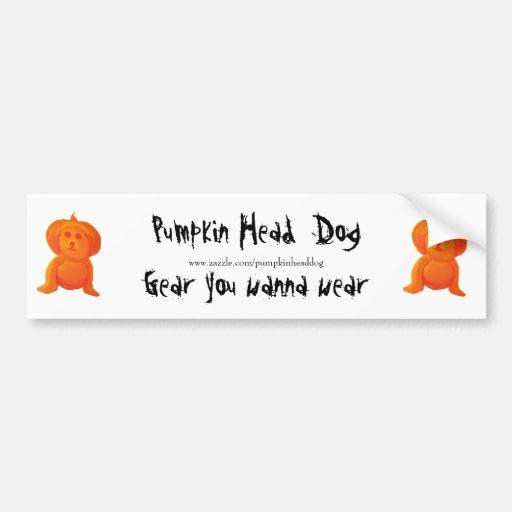 Pumpkin Head Dog Bumper Sticker