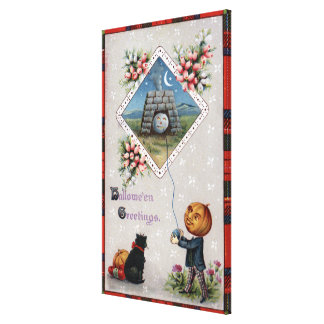 Pumpkin Head Flying a Kite in a Chimney Gallery Wrapped Canvas