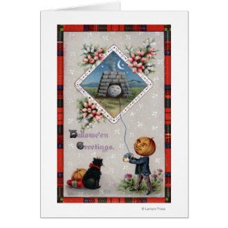 Pumpkin Head Flying a Kite in a Chimney Greeting Card
