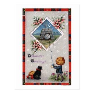 Pumpkin Head Flying a Kite in a Chimney Postcards