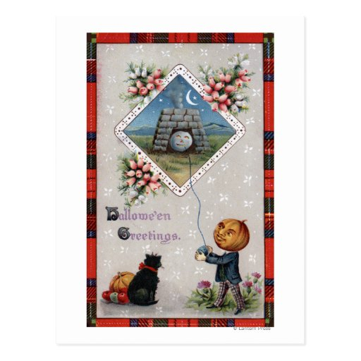 Pumpkin Head Flying a Kite in a Chimney Post Cards