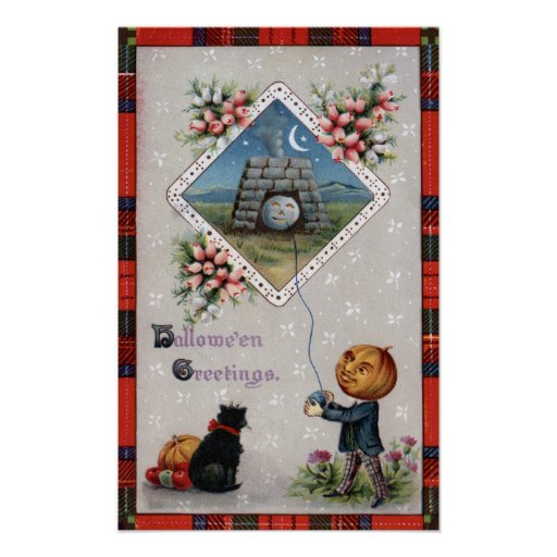 Pumpkin Head Flying a Kite in a Chimney Posters