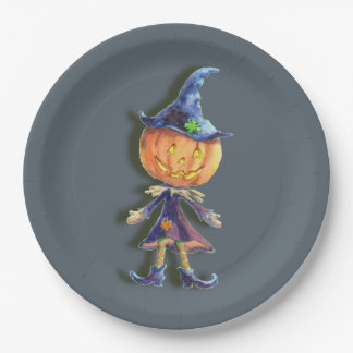 PUMPKIN HEAD & JACK by SHARON SHARPE 9 Inch Paper Plate