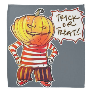 pumpkin head kid say trick or treat halloween bandana