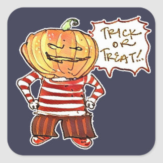 pumpkin head kid say trick or treat halloween square sticker