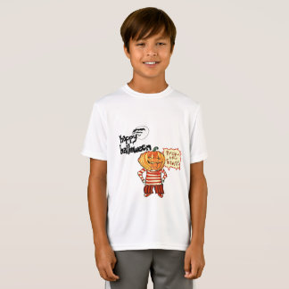 pumpkin head kid says trick or treat halloween T-Shirt