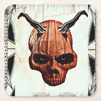 Pumpkin Head Square Paper Coaster