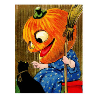 Pumpkin-Head Witch and Black Cat Postcard