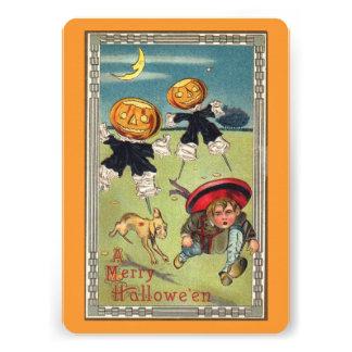 Pumpkin Heads Chasing Boy Halloween Vintage Custom Invitations