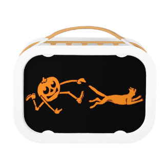Pumpkin Jack O' Lantern Chasing Cat Orange Black Lunch Box