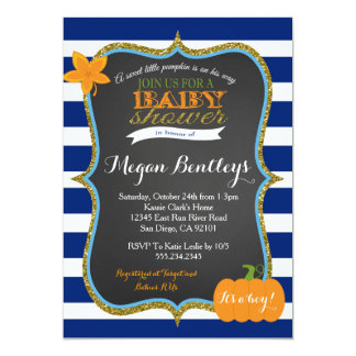 Pumpkin Navy Boy Baby Shower Invitation