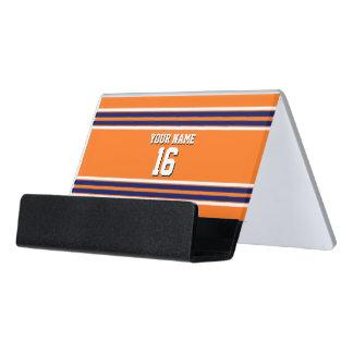 Pumpkin Orange with Navy White Stripes Team Jersey Desk Business Card Holder