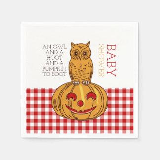Pumpkin Owl & Gingham Baby Shower Paper Serviettes