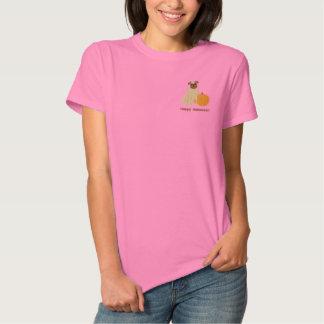 Pumpkin Pug Embroidered Shirt (Long Sleeve)