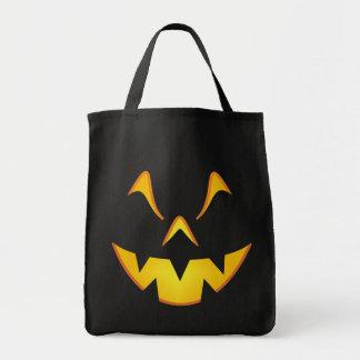 Pumpkin Smile Trick or Treat Grocery Tote Bag
